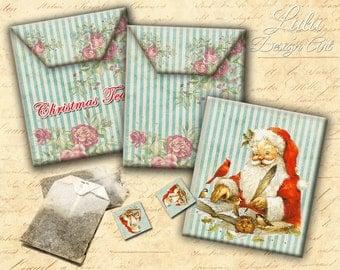 Christmas Tea Bag Envelopes - Digital Collage Sheet - Printable Envelopes - Vintage Image - Digital Paper - Christmas - Scrapbooking