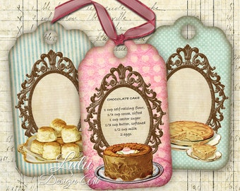 Recipe Tags - Digital Collage Sheet - Printable Cards - Digital Tags - Recipe Cards - Patisserie - Digital Paper - Embellishment - DIY