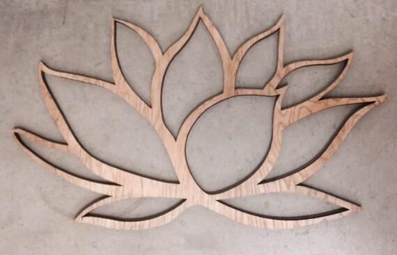 Wall Art Lotus Flower : Wooden lotus flower wall art wood om by inspiremetals