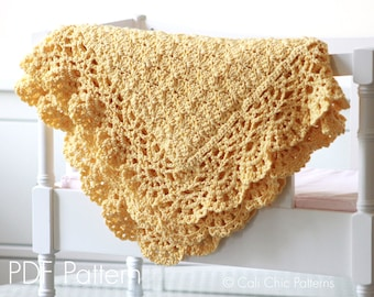 Baby Afghan PATTERN 124 - Fairy - Crochet Baby Blanket PATTERN 124 - Golden Yellow Baby Afghan - Instant Download PDF