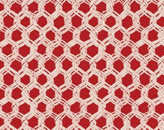 SALE!!  Fat Quarter By The Sea -  Landing Net in Red - Nautical - Cotton Quilt Fabric from Benartex Fabrics (W1621)