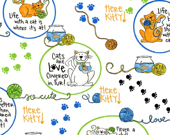 """15"""" REMNANT A Cat's Life - Cat Vignettes in White - Cute Kitty Theme Cotton Quilt Fabric -Tara Reed Designs - Quilting Treasures (W2074)"""
