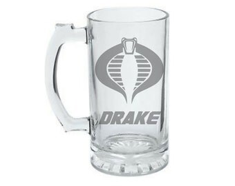 Personalized Cobra GI Joe  Mug - Cobra Logo Mug - Custom Etched Cobra Beer Mug - Cobra Commando