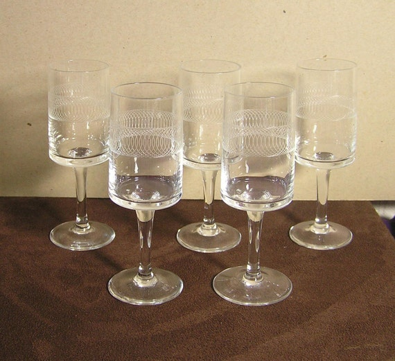 five vintage fine crystal sherry glasses with a by dutchtrader