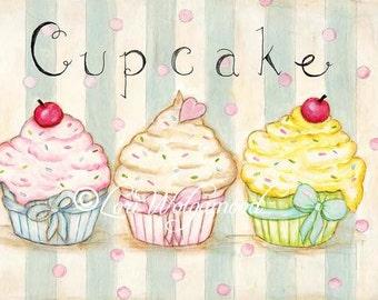 Three Cupcakes - Acrylics - ACEO Artist Print - Digital