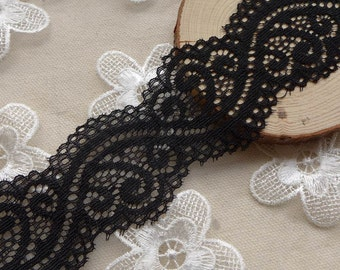 "2 yds*1.73""wide Black Stretch Lace for Bridal, Stocking top, Headband, Garters, Lingerie"
