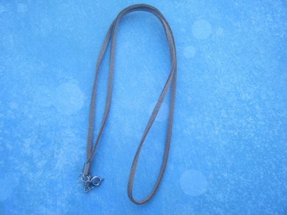 Grey Suede-cord Necklace by AnimeHaven on Etsy