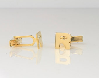 Block Initial Monogram Cuff Links (ZCL-90844) 10K Gold
