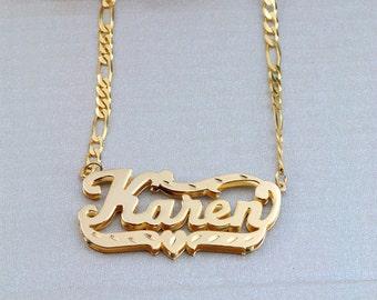 "Double-Plate Diamond-cut Name Necklace ""Karen"" (NP90588) gpss"
