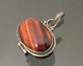 Vintage Modernist Sterling Silver Red Tiger's Eye Charm Pendant
