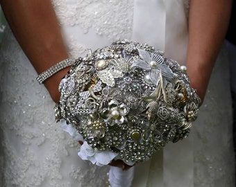 Brooch Bouquet Large Silver Rhinstone custom DEPOSIT only