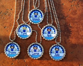 Set of 6 Personalized Girl Scouts Daisies Daisy Inspired Party Favors Bottle Cap Necklaces OR Zipper Pulls - YOU CHOOSE