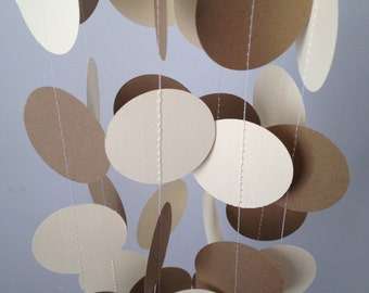 Cream, Brown Craft Paper 12 ft Circle Paper Garland- Party Decorations, Birthday, Wedding, Bridal Shower, Baby Shower