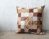 "Patchwork brown Pillow. Quilt Home Decor. Patchwork pillow. 16""x16"" Handmade. Brown beige pillow cower."
