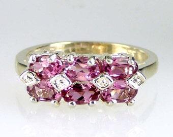 Natural Pink Tourmaline Band Ring 925 SS Sterling Silver