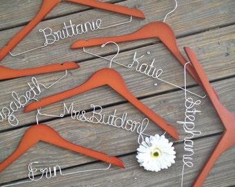 SALE Set of 6 Bridesmaid Hangers, Set of six hangers, Bride Hanger, Name Hanger, Wedding Hanger, Personalized Bridal hanger, Bridal Gift