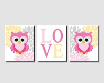 Owl Nursery Art Baby Girl Nursery Decor Floral Nursery Artwork Pink Gray Nursery Owl Wall Art Set of 3 Prints Or Canvas