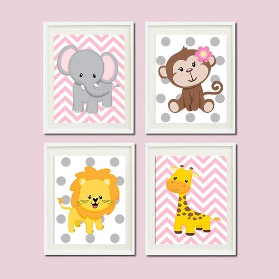 Jungle Wall Art Nursery : Jungle nursery wall art elephant monkey by lovelyfacedesigns