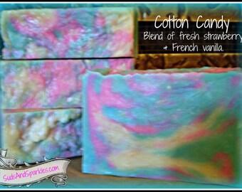 Cotton Candy - Rustic Suds Natural - Organic Goat Milk Triple Butter Soap Bar - 5-6oz. Each