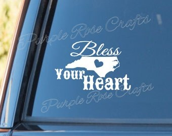 Bless Your Heart NC decal, Car Stricker