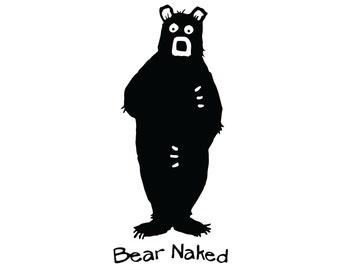 Funny Bear Naked Vinyl Decal - Nakid Bear Hunting Sticker