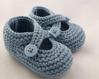 Little Boy Blue Knit Baby Booties