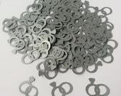 Wedding Ring Confetti- 120 Pieces- Silver- Cricut Die Cut