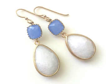 Blue and White Gold Earrings, Periwinkle and white Earring, Blue and White Stone Earrings