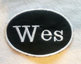 Oval Iron On Name Patch / Biker Tag / Biker Patch / Name Tag / Fabric Label