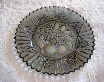Vintage smoke gray glass serving platter, plate, carnival glass platter, iridescent glass platter