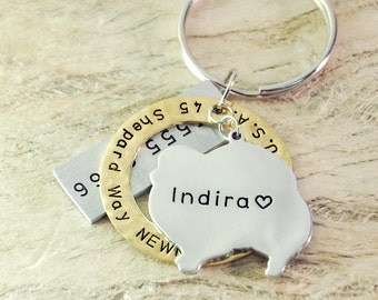 Pomeranian dog tag Personalized dog tag 3 piece Pet tag Pet Id Tag Hand stamped  custom Made with your Pets Name/phone number