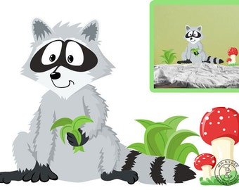 Wall decal raccoon from woodland serie I.