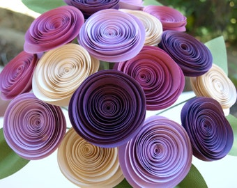 Paper Roses / Paper Flowers in Pink, Purple and Cream