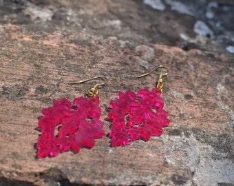 Hot Pink Victorian lace statement earrings / Laser cut earrings / Acrylic earrings /Summer jewelry