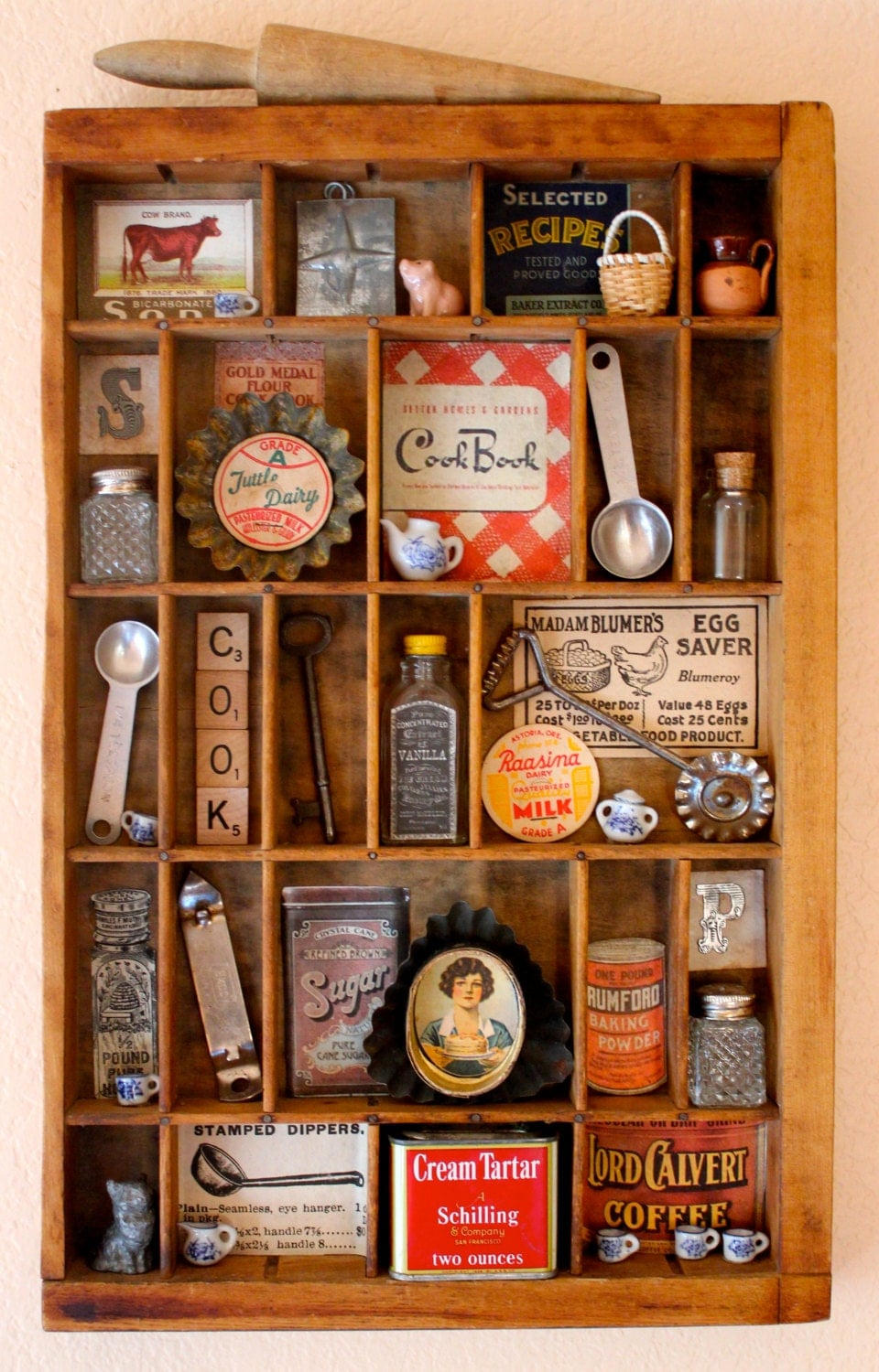 Found Object Assemblage Art Vintage Kitchen