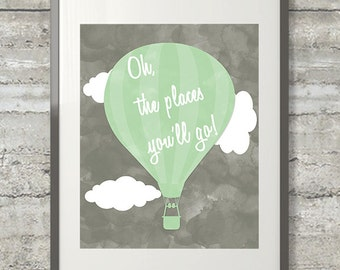 Oh The Places You'll Go Nursery Art in Mint and Gray - 8x10 Print