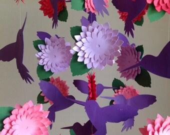 Shabby Chic Mobile - Flower Baby Mobie - Girl Crib Mobile - Hummingbird  Mobile with 3D Flowers- Flower Room Decor
