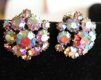 Vintage Weiss Aurora Borealis Rhinestone Clip Earrings Silver Tone Signed 1940s