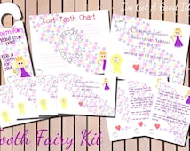 Tooth Fairy Kit - pack contains certificates, notes, chart, door hanger - printable - girl