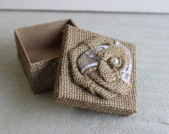 Burlap Jewelry Box - Square (4 Pack)