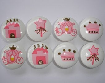 Set of 8 Hand Painted Princess Dresser Drawer Knobs