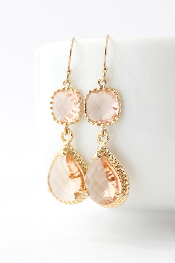 peach champagne gold long rope rim earrings