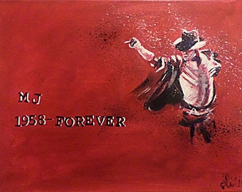 Michael Jackson. 12 x16 in. original acrylic painting on ready to hang canvas. 5/8 in. profile