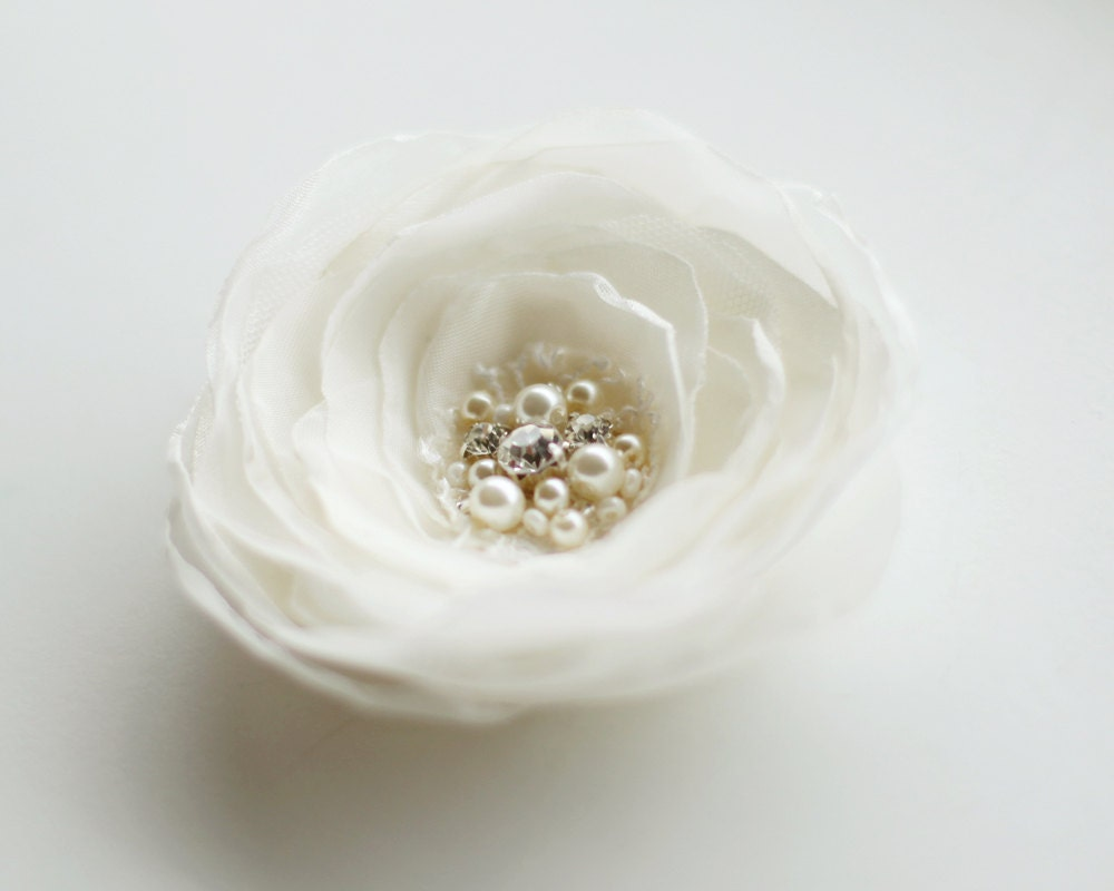 Bridal Ivory Flower Hair Accessories : Ivory wedding hairpiece flower bridal hair accessories pearls