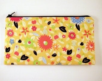 Yellow Floral Zipper Pouch, Gadget Bag, Make Up Bag, Pencil Pouch