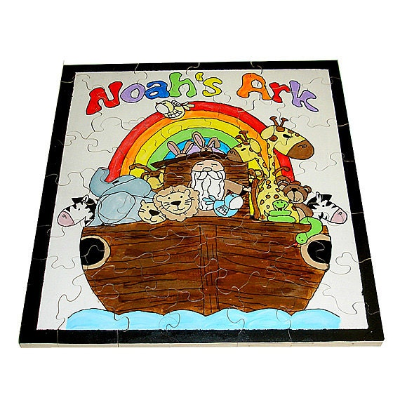 Giant Hand Painted Noahs Ark Wooden Jigsaw Puzzle By ThePuzzledOne
