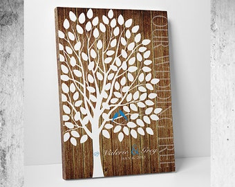 Wedding Guest Book Canvas - Custom Wedding Guest Book - Print or Canvas - 100-300 Guest Sign In - 20x30 Inches - FREE SHIPPING