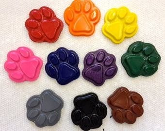 10 Paw Prints  Crayons -  Birthday Party Favors