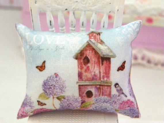 Shabby Chic Pillows Etsy : dollhouse shabby chic miniatures pillow