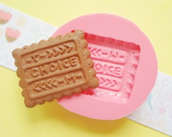 24mm Choice Biscuit Cookie Flexible Silicone Mold - Decoden Kawaii Sweets Resin Fimo Polymer Clay Sculpey Wax Soap Fondant Cabochon